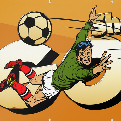 Pop Art illustration with the title 'Banner for a Kid's Soccer Team'