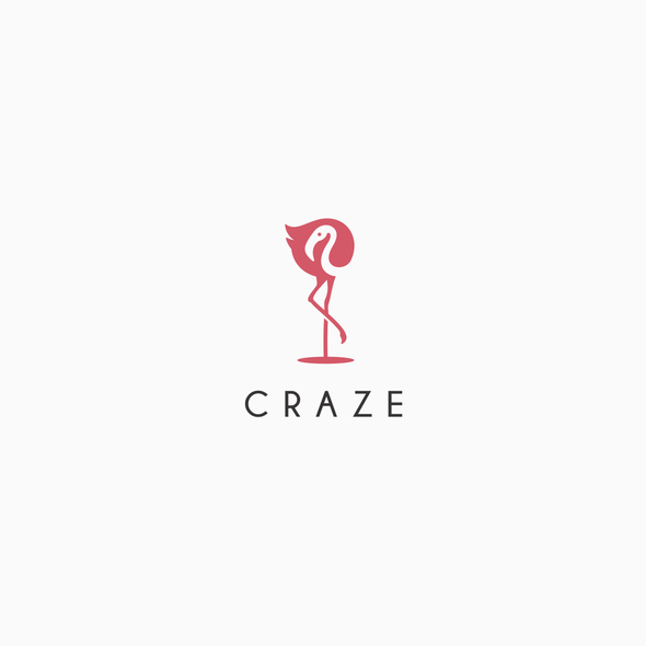 Flamingo design with the title 'Craze logo design'