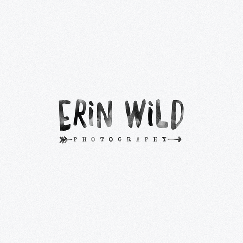 Gray and yellow logo with the title 'logo design for the Erin Wild photography'