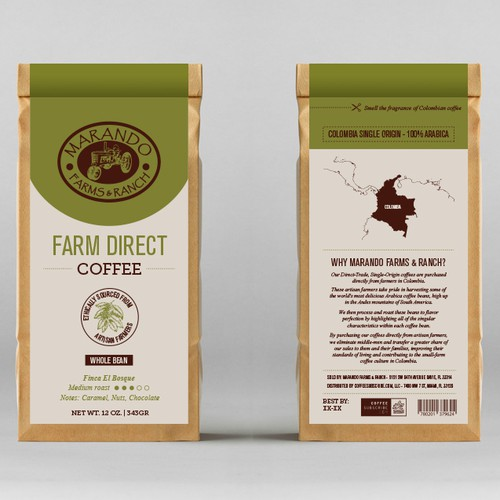 Farm label with the title 'Farm Direct Coffee'
