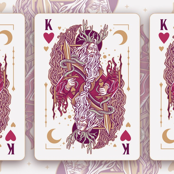 Hand-drawn illustration with the title 'King of hearts'