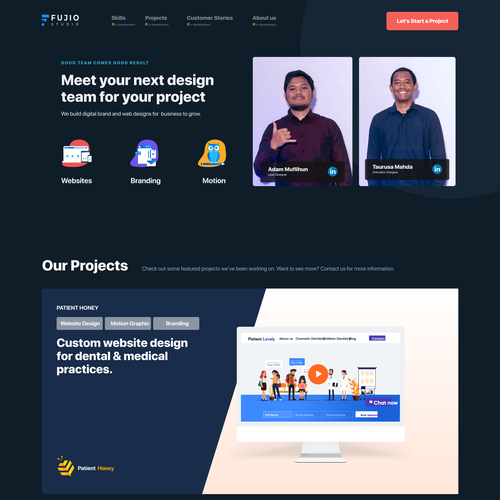 Project design with the title 'Fujiostudio.com'