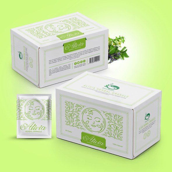 Green packaging with the title 'Packaging Designs for Acne Remedy'