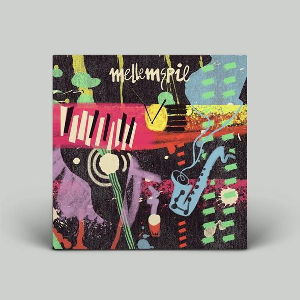 Funky illustration with the title 'Mellemspil album artwork'