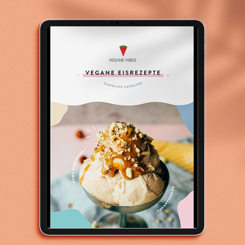 Recipe design with the title 'Fun Vegan Ice Cream Recipe Book'