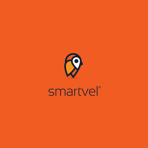 Location design with the title 'Smartvel - Logo for tech travel startup. Smart travel?'