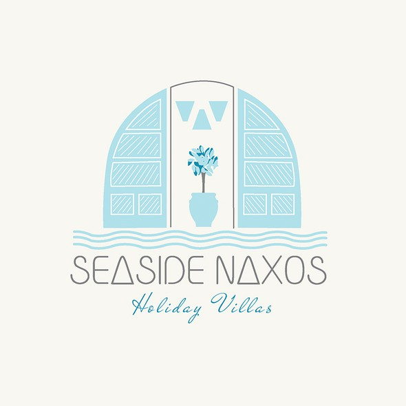 Seaside logo with the title 'logo for seaside naxos'