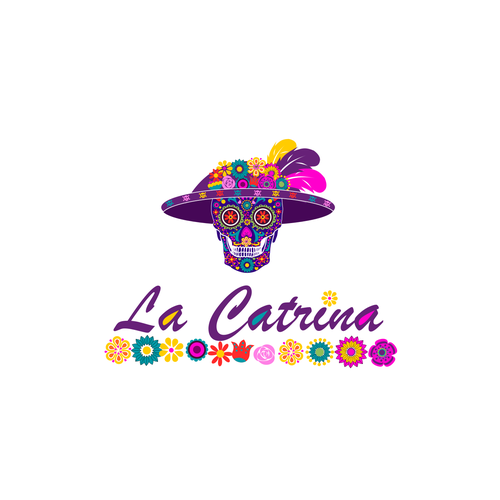 Pink and purple logo with the title 'Flowered skull of La catrina'
