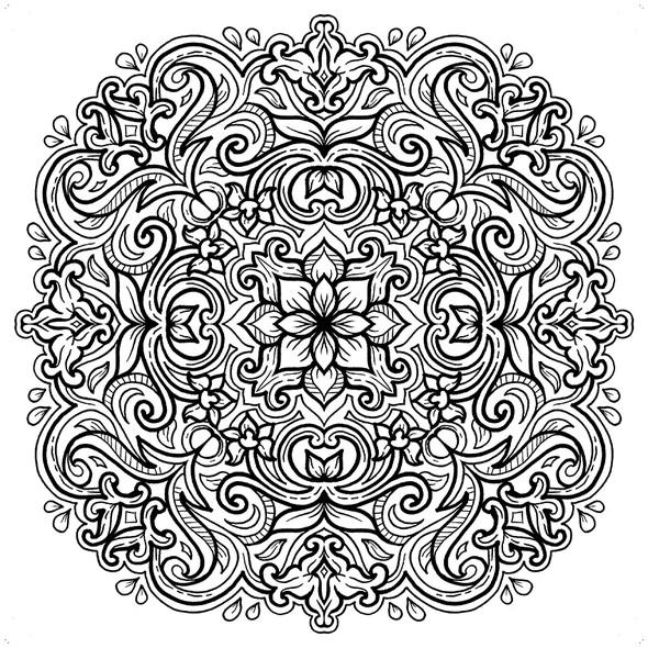 Batik design with the title 'Batik Mandala Coloring Book'