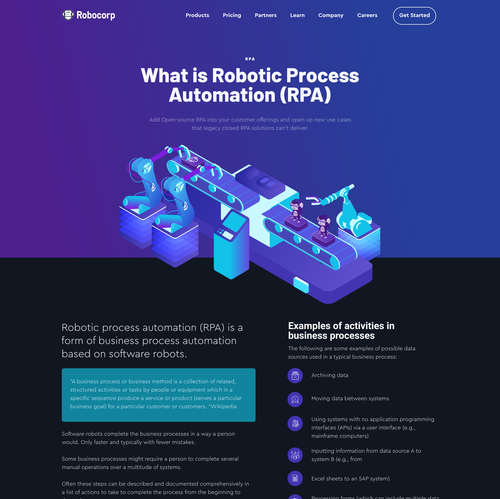 Automation design with the title 'Robot automation landing page'