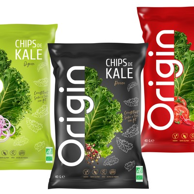 bio products: Kale chips, needs a modern packaging