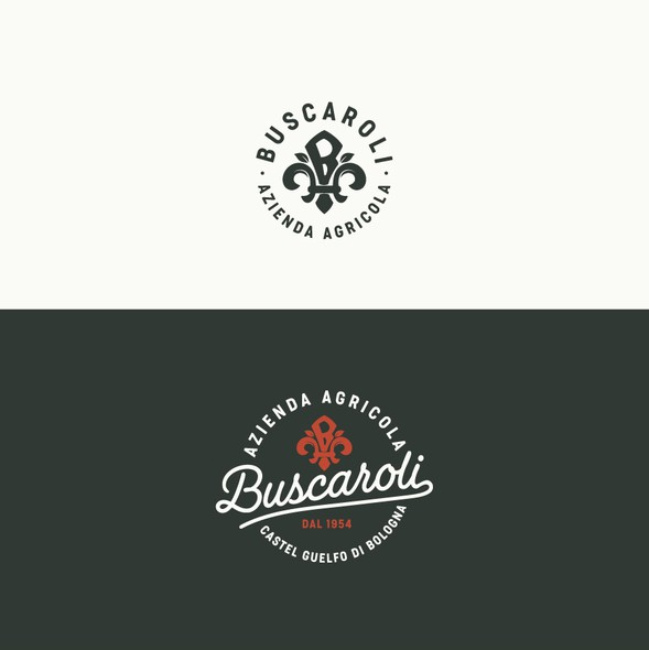 Fleur de lis design with the title 'Azienda Agricola Buscaroli'