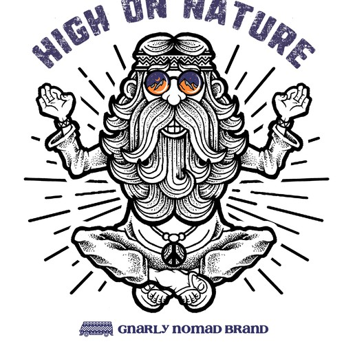 Hippie design with the title 'High on Nature Version 2'
