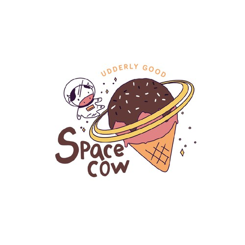 Dessert design with the title 'Space cow!'