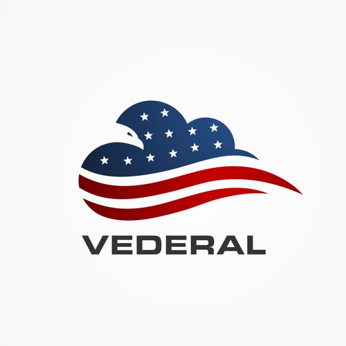 Blue and red logo with the title 'Vederal powerful new patriotic/cloud/technology logo'