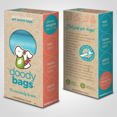 Dog packaging with the title 'Box Design for Pet Products'