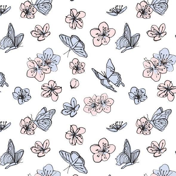 Cherry blossom design with the title 'Cherry Blossom + butterflies, for swaddle blanket. '