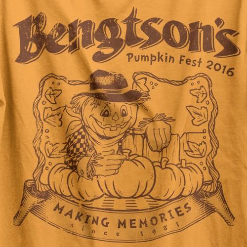 Screen print design with the title 'Pumpkin Fest t-shirt'