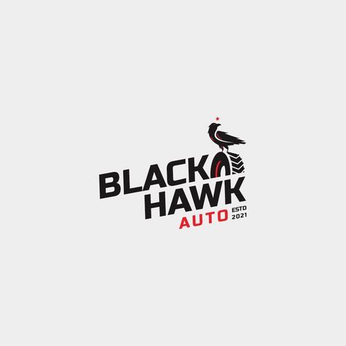 Tire design with the title 'Blackhawk Auto Logo'