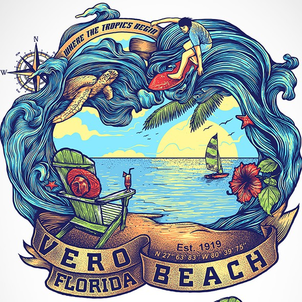 T-shirt with the title 'Beach-themed T-shirt design for beach town'