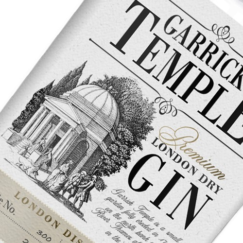 Design label with the title 'Garrick Temple London Gin'