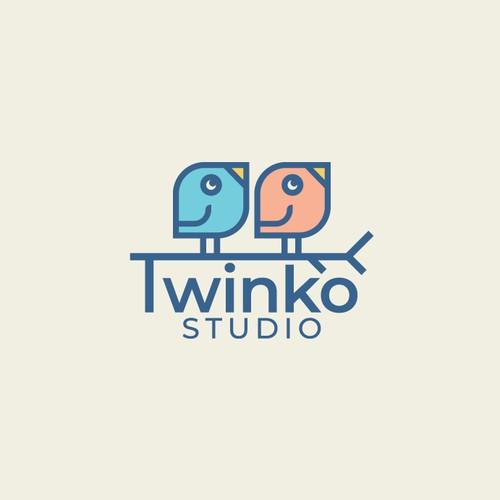 Bird logo with the title 'Twinko studio'
