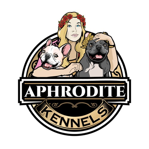 Doberman logo with the title 'Design logo for French Bulldog breeder In Music City Aphrodite Kennels'