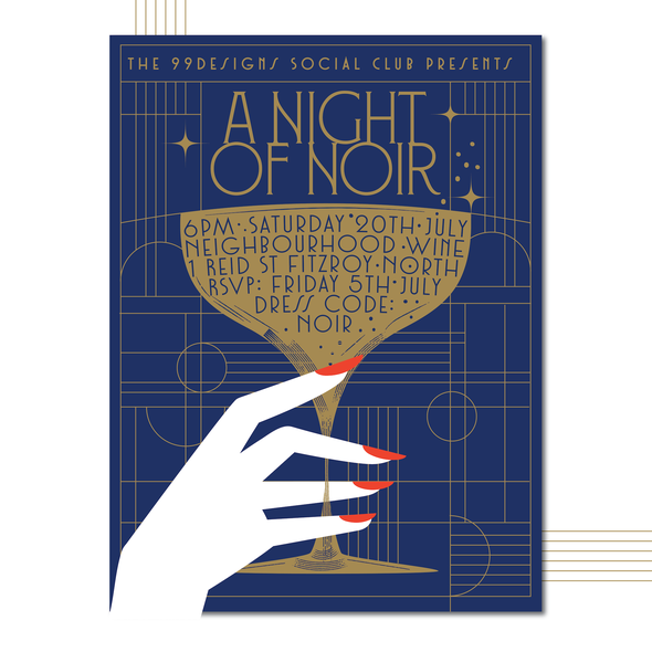 20s design with the title '99social: 1920's/Art Deco Style Poster for our Annual Mid-Year Event!'