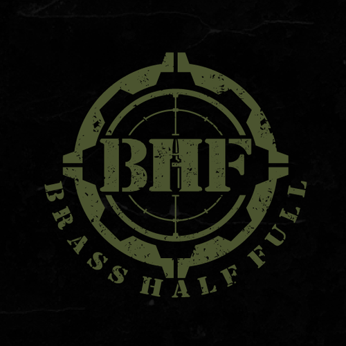Shooting logo with the title 'Logo design for BRASS HALF FULL'