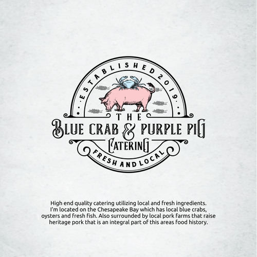 Crab logo with the title 'Blue crab and purple pig catering logo'