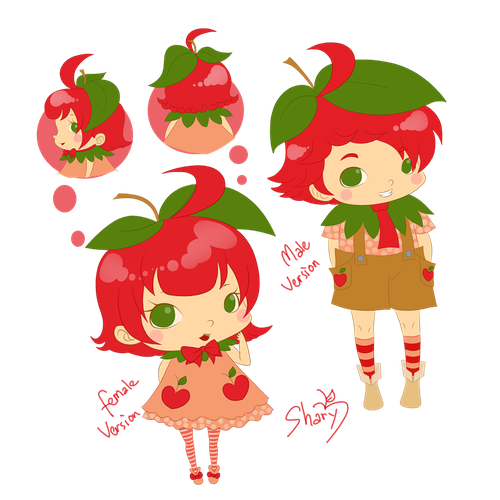 Chibi design with the title 'MASCOT APPLELAND MALE & FEMALE VERSION'