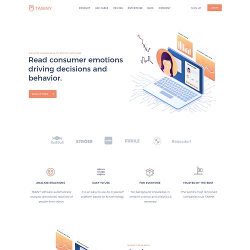Startup website with the title 'emotion analytics SaaS platform website design'