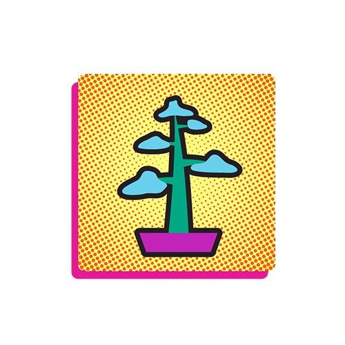 Mobile illustration with the title 'POP Bonsai Vector Illustration'