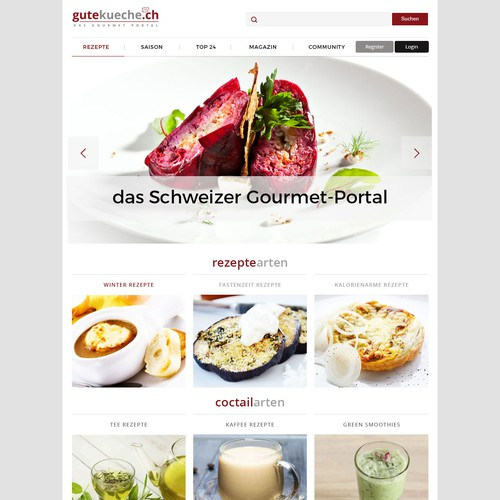 Portal design with the title 'Webdesign for culinary portal'