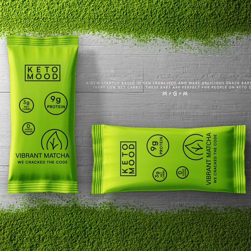 Matcha packaging with the title 'Keto Mood packaging'