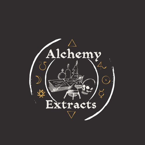 Occult logo with the title 'Alchemy Extracts - Cannabis Oil logo'