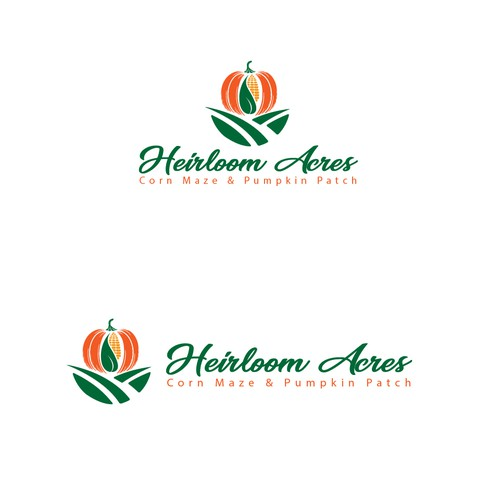 Pumpkin logo with the title 'Heirloom Acres'