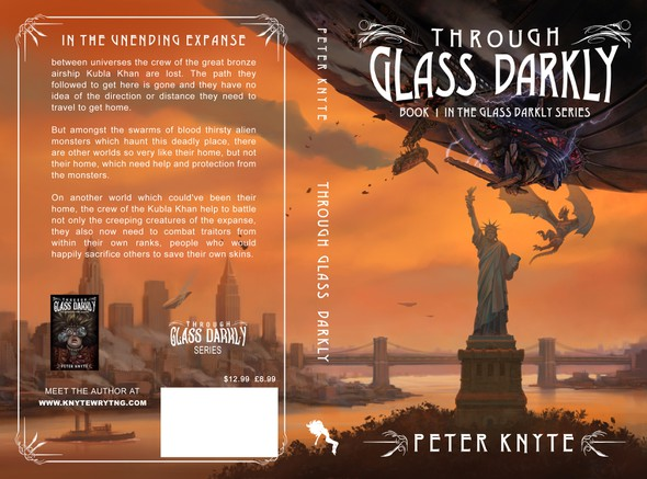 Airship design with the title 'Book 1 in the Glass Darkly Series'