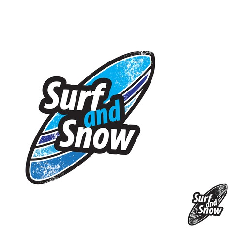 Surfing logo with the title 'Surf and Snow'