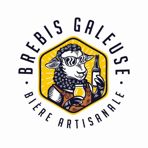 Sheep design with the title 'French Craft Brewery Logo'