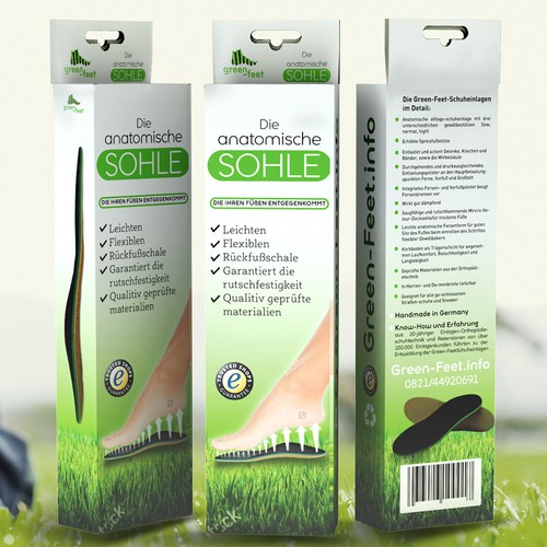 "Insert design with the title 'Product packaging design for  shoe inserts ""Green Feet""'"