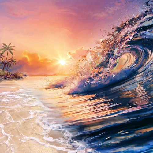 Sun illustration with the title 'Sunrise Ocean illustration'