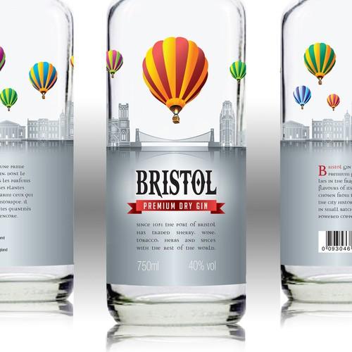 Beverage label with the title 'Innovative Label for New Premium Bristol Gin'