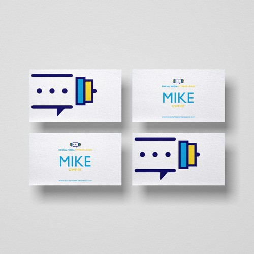 Name card design with the title 'Barbells and chating logo'
