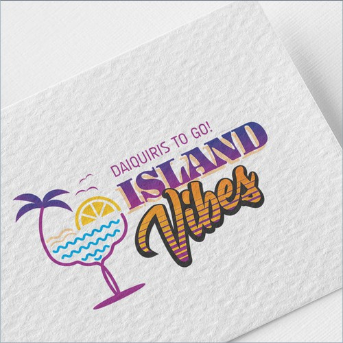 Cocktail logo with the title 'Island Vibes'