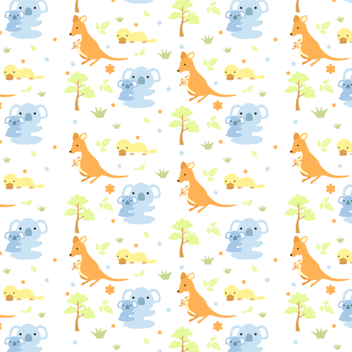 Fabric illustration with the title 'Australian animal design for fabric to be used on babies'