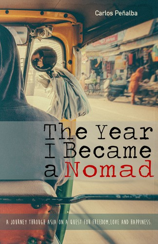 "Photography book cover with the title 'Creative cover for adventurous travel memoir: ""The Year I Became a Nomad""'"