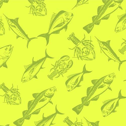 Fashion design with the title 'Custom Drawn Fish Illustration'