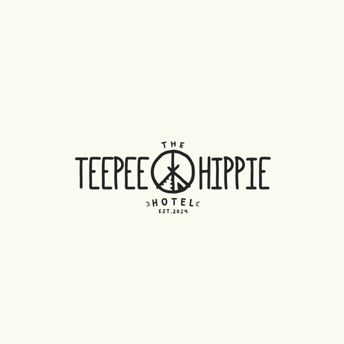 Hippie design with the title 'Logo proposal for the teepee hippie hotel'