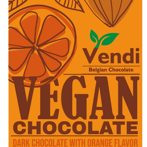 Orange packaging with the title 'Vegan chocolate bar'